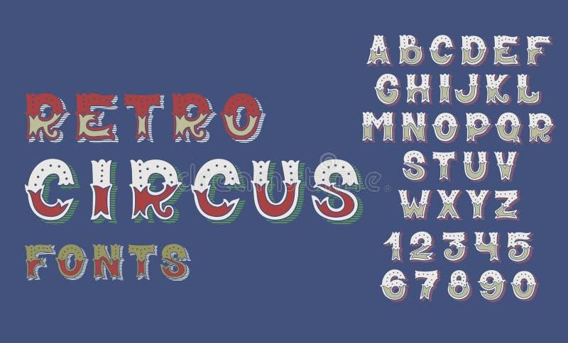 De doopvonten en de aantallenalfabetontwerp van het krabbel retro circus royalty-vrije illustratie