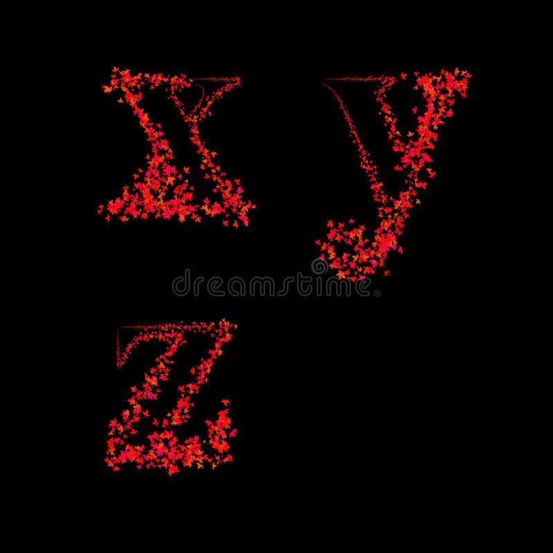 De doopvonten van het kunstontwerp van esdoornblad (xyz in kleine letters) vector illustratie
