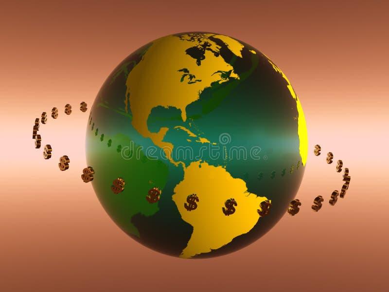De doorgevende wereld van de dollar. vector illustratie