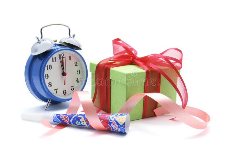 De Doos en de Klok van de gift royalty-vrije stock afbeelding