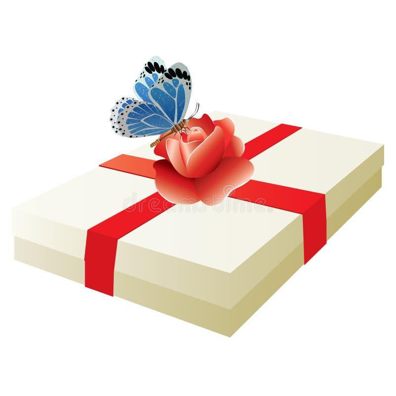 Download De Doos Met Een Gift En Nam Toe. Vector. Vector Illustratie - Illustratie bestaande uit knop, doorn: 10782185