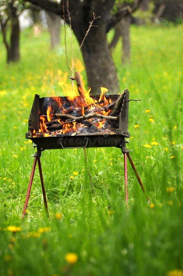 De doos van de barbecue met brand en brandhouten stock foto