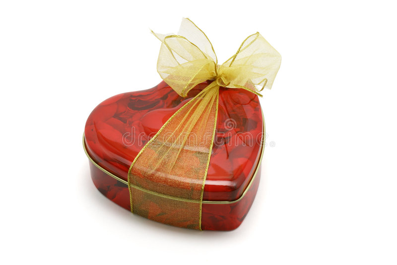 De doos van de de vormgift van het hart van koekjes stock afbeelding