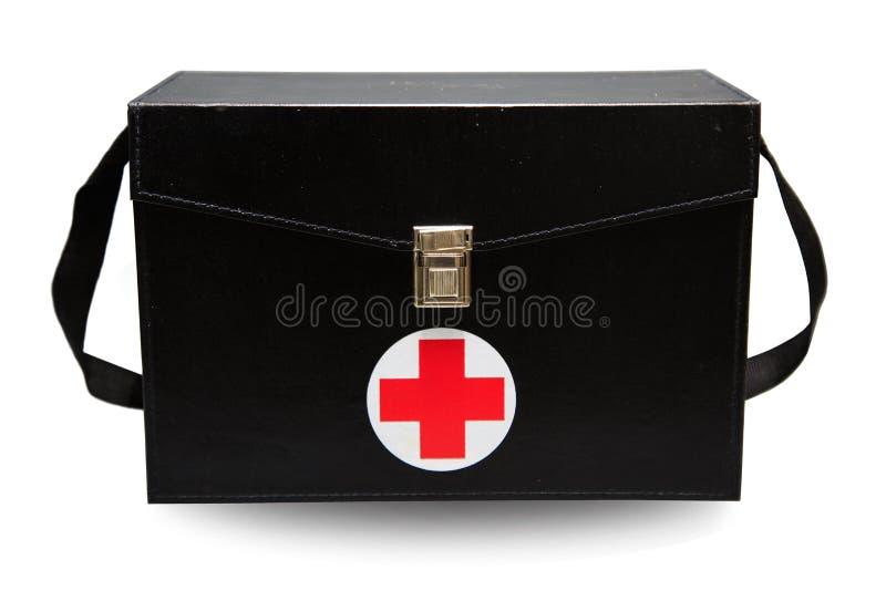 De doos van de eerste hulpuitrusting op witte achtergrond of geïsoleerde achtergrond, Noodsituatiegeval gebruikte hulpdoos voor d royalty-vrije stock afbeelding