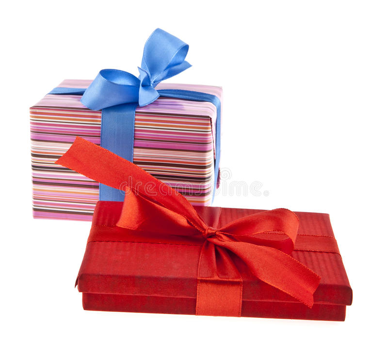 De doos van de gift die op witte achtergrond wordt geïsoleerde stock afbeelding