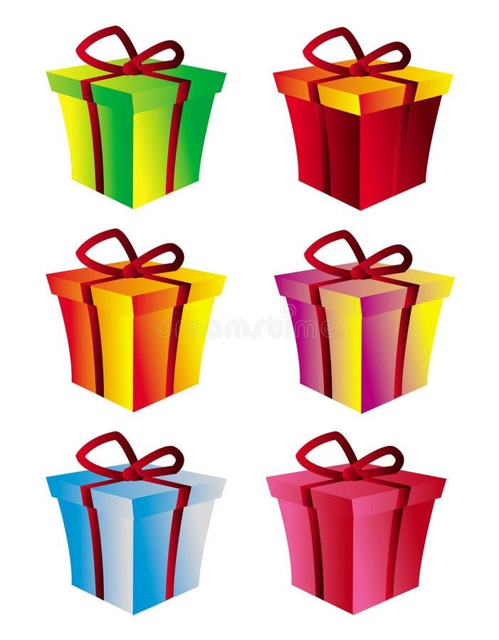 De doos van de gift die in verschillende kleurenversies wordt geplaatst royalty-vrije illustratie
