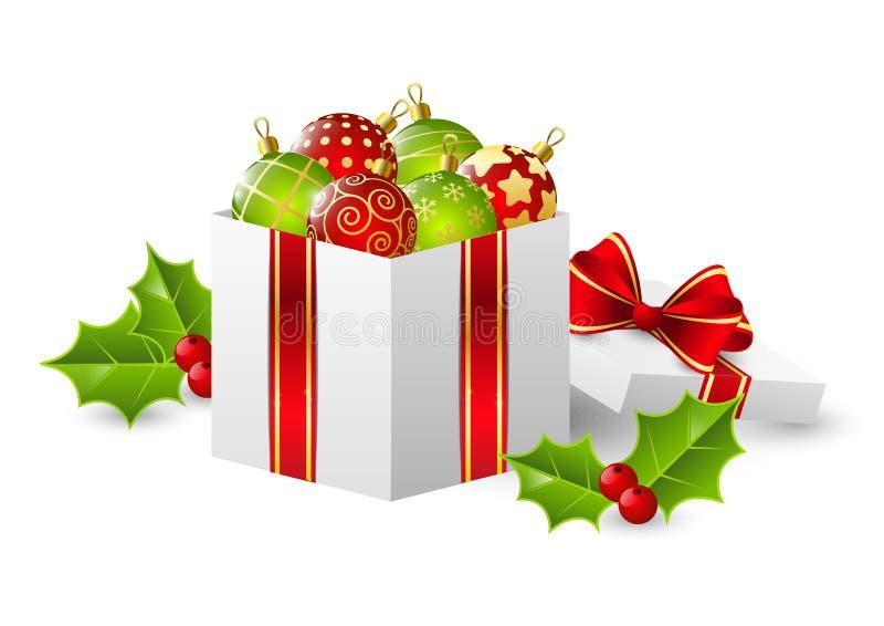 De doos van de gift met Kerstmisballen vector illustratie
