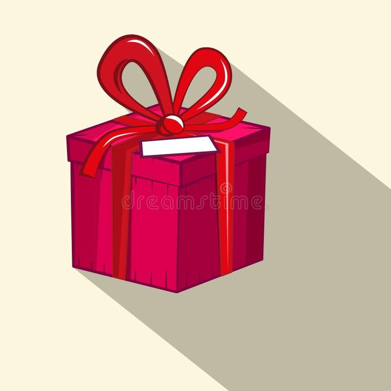 De doos van de gift Rode en Roze Retro Vlakke Ontwerp Huidige Doos stock illustratie