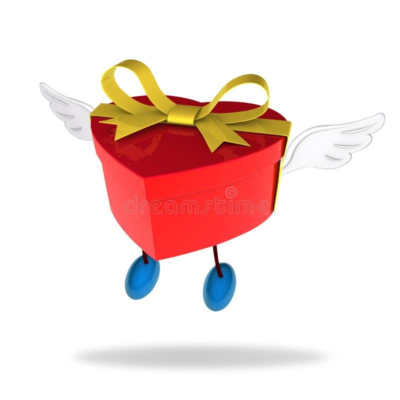 De doos van de liefde met engelenvleugels royalty-vrije illustratie