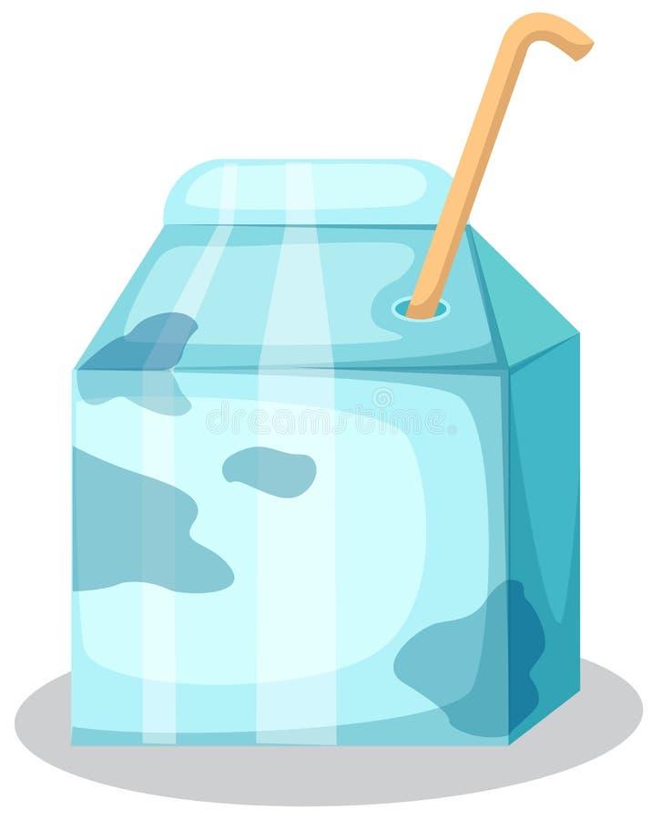 De doos van de melk met stro vector illustratie