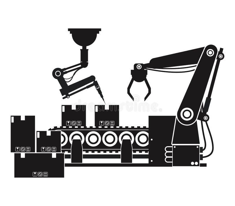 De doos van de silhouetverpakking automatiseerde robotachtige productielijn vector illustratie