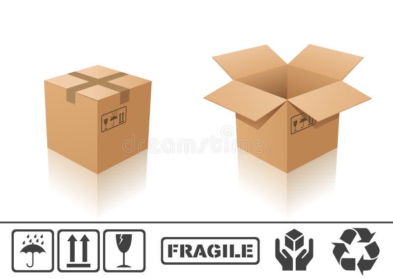 De doos van het karton vector illustratie