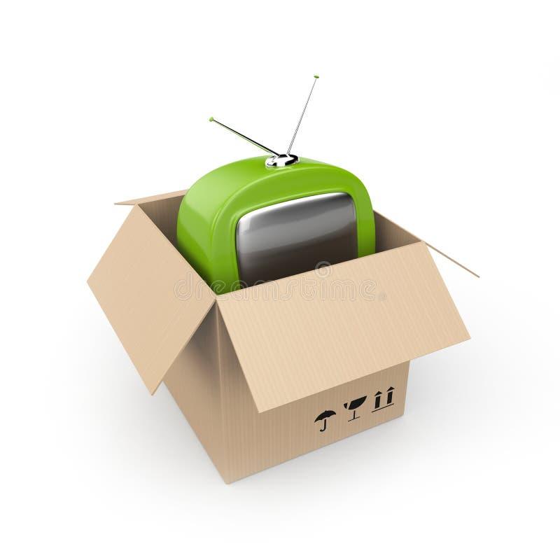 De doos van het karton met TV vector illustratie