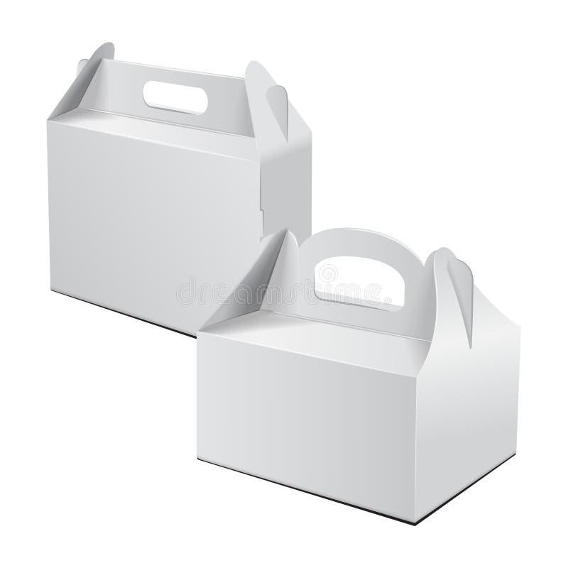 De Doos van het karton Voor Cake, Snel Voedsel, Gift, enz. Carry Packaging Vectormodel Reeks van Wit Malplaatje van pakket royalty-vrije illustratie