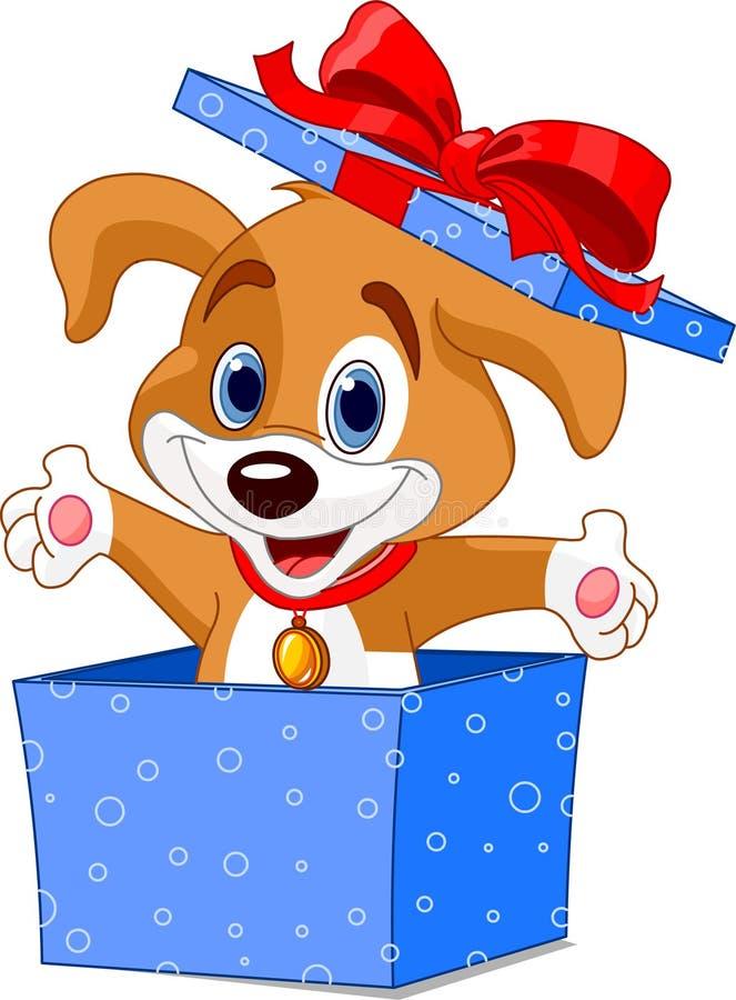 De doos van het puppy royalty-vrije illustratie