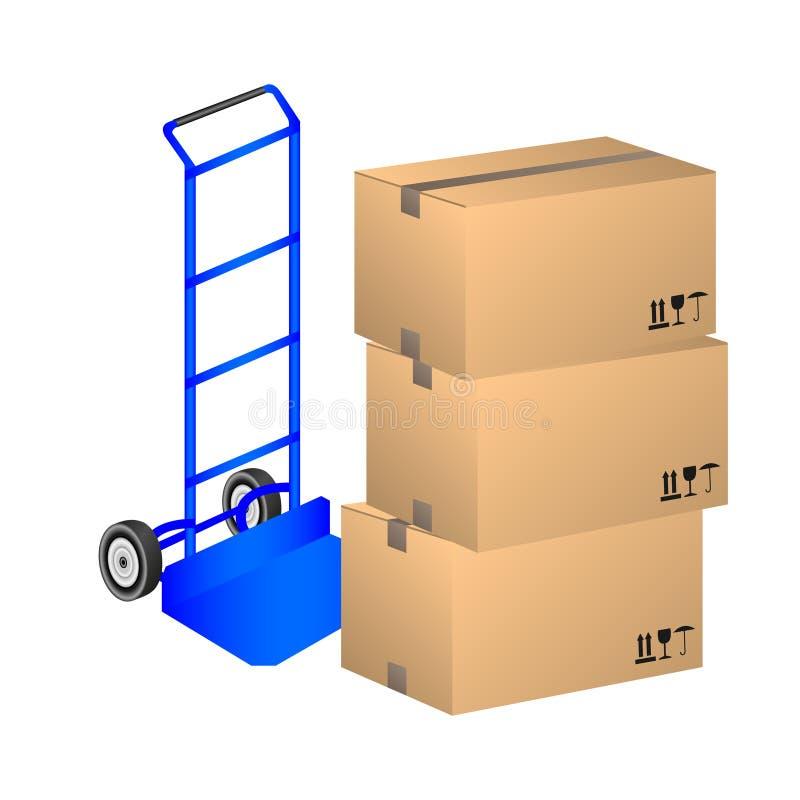 De doos van het stootkarkarton royalty-vrije illustratie
