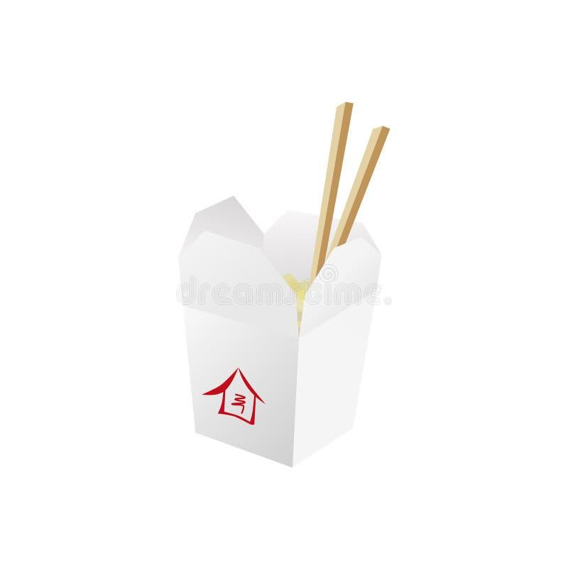 De doos van het wokvoedsel met noedels en karbonadestokken royalty-vrije stock foto