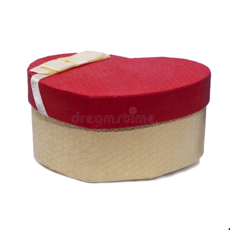 De doos van de kartongift in de vorm van een hart stock foto's