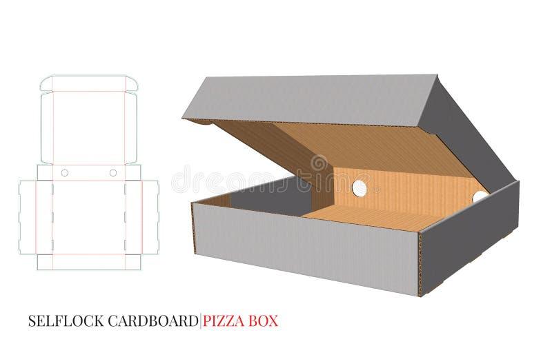 De DOOS van de KARTONpizza, malplaatje met de lijnen van de matrijzenbesnoeiing De duidelijke, lege, geïsoleerde spot van de Pizz royalty-vrije illustratie