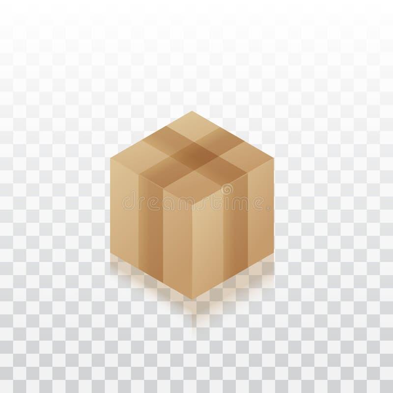 De doos van de kartonverpakking die voor levering wordt gesloten die op transparante witte achtergrond wordt geïsoleerd stock illustratie