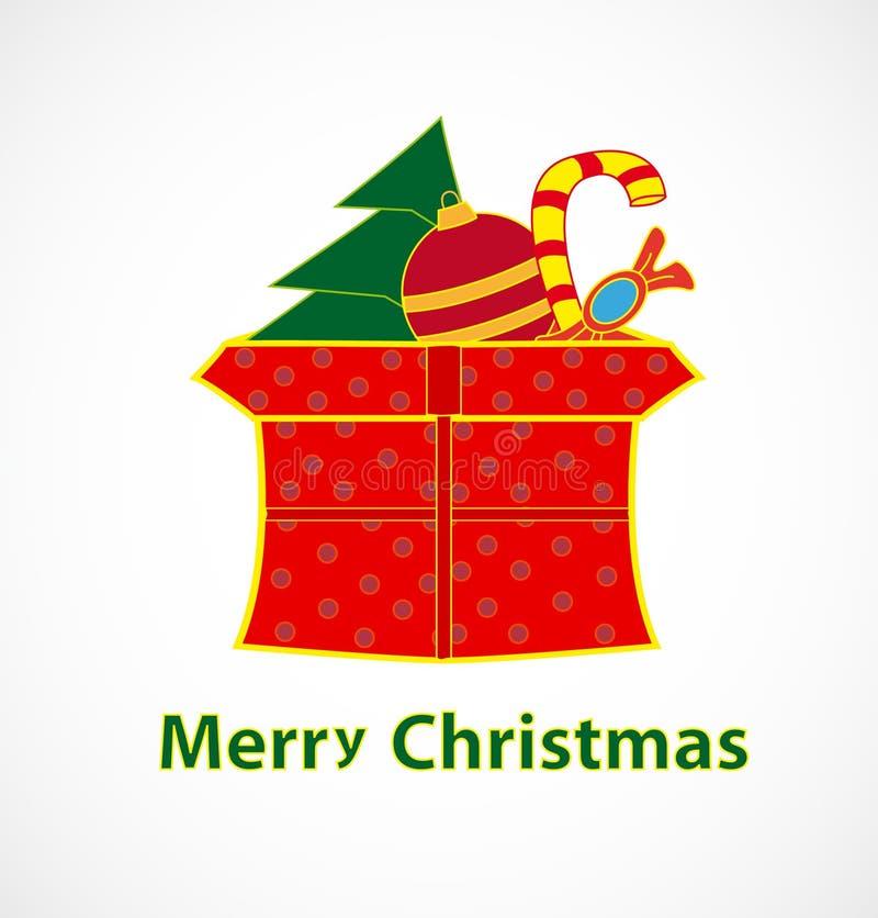 De doos van Kerstmis met giften royalty-vrije illustratie