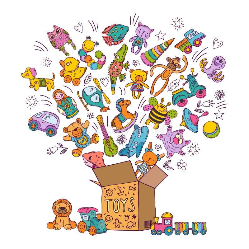 De doos van kinderen voor speelgoed De vectorillustratie van krabbelbeelden royalty-vrije illustratie