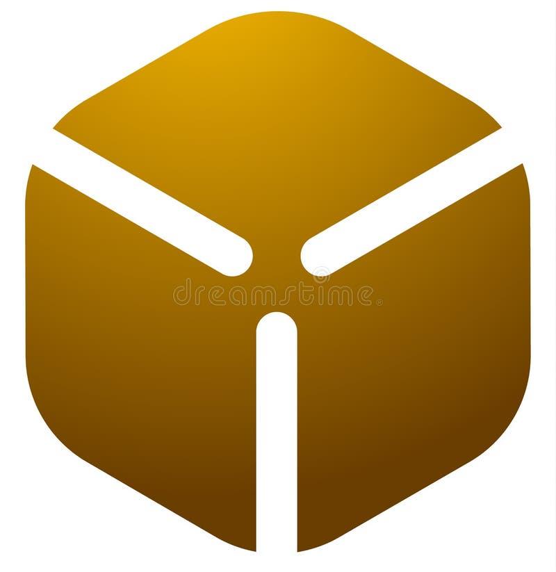 De doosembleem van de kartonkubus, pictogram stock illustratie