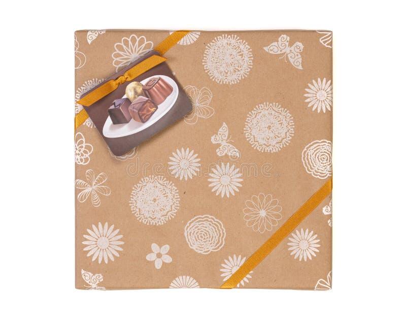 De Doosgift van het chocoladesuikergoed stock fotografie