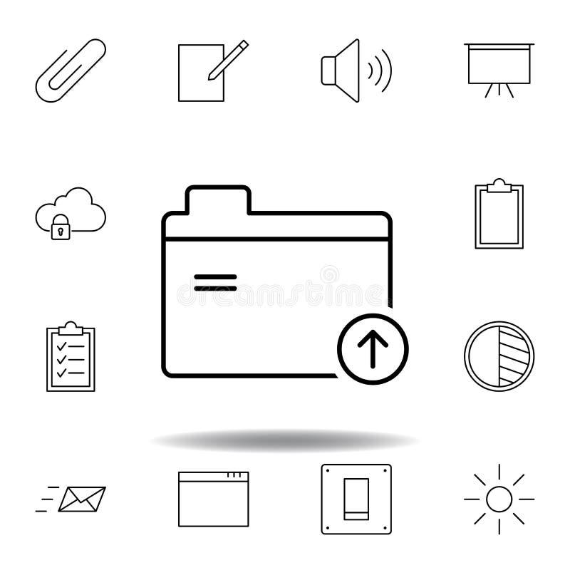 De dossiers uploaden het pictogram van het omslagoverzicht Gedetailleerde reeks unigridillustratiespictogrammen van verschillende stock illustratie
