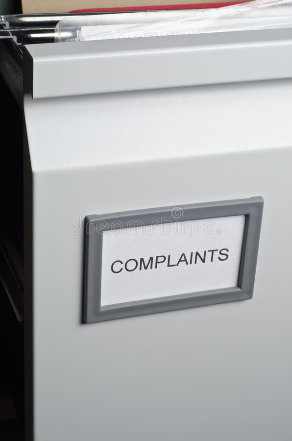 De Dossiers van klachten in Lade stock afbeelding