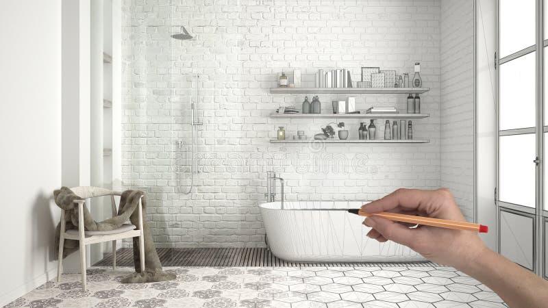 De douane klassieke uitstekende badkamers van de handtekening met badkuip, douche en planken Het gemaakte onvolledige binnenland  stock illustratie