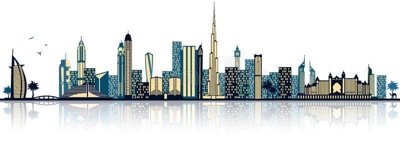 De Doubai verenigde Arabische geïsoleerde vector van emiraten horizon royalty-vrije illustratie