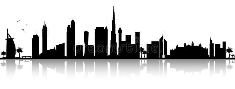 De Doubai Verenigde Arabische van het de horizonsilhouet van Emiraten geïsoleerde vector zwarte vector illustratie
