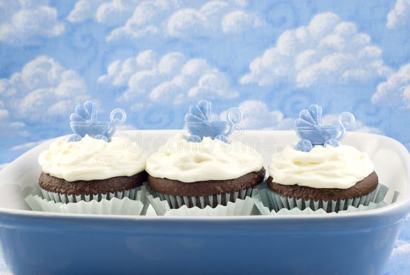 De Douche Cupcakes van de baby voor Jongen royalty-vrije stock afbeelding