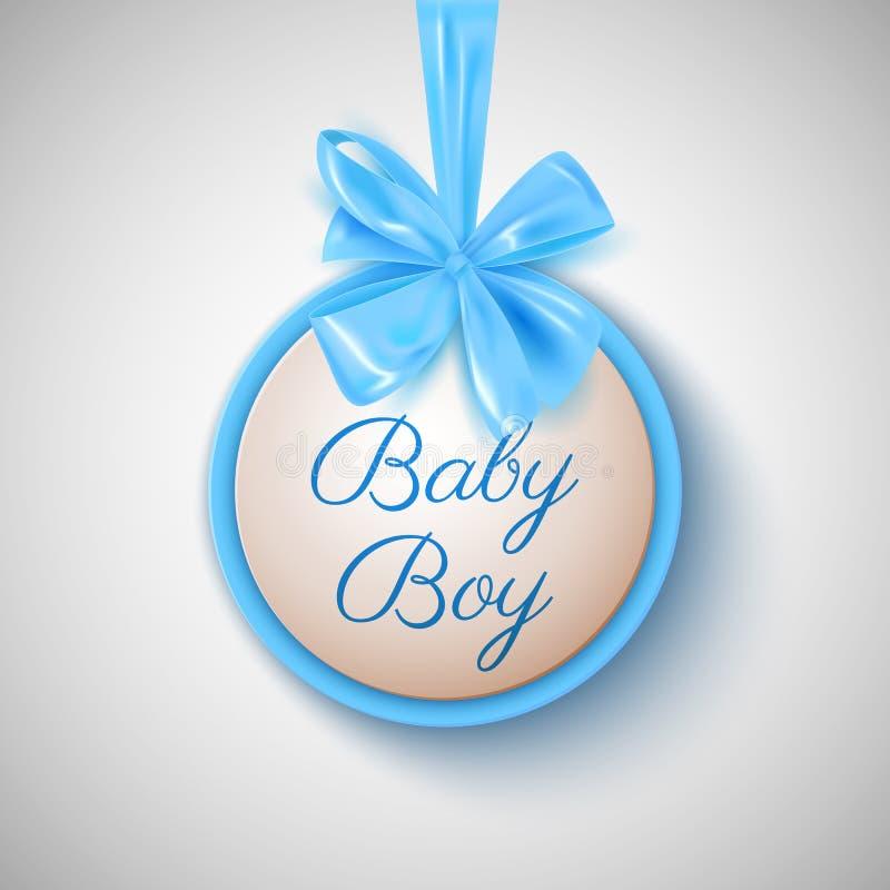 De douche leuke blauwe boog van de babyjongen en ronde banner, vectorillustratie stock illustratie