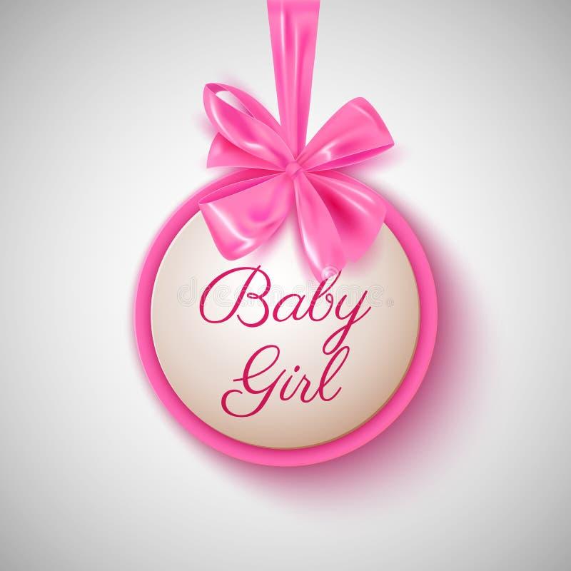 De douche leuke roze boog van het babymeisje en ronde banner, vectorillustratie vector illustratie