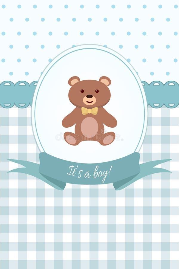 De douche van de babyjongen of aankomstkaart met teddybeer Vlak Ontwerp vector illustratie
