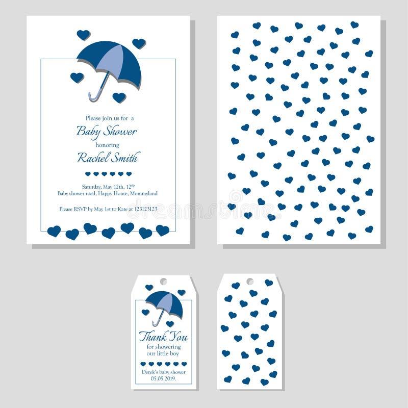 De douche van de babyjongen plaatste - uitnodiging en dankt u etiketteert voorzijde en rug Blauwe paraplu met harten die schaduwe vector illustratie