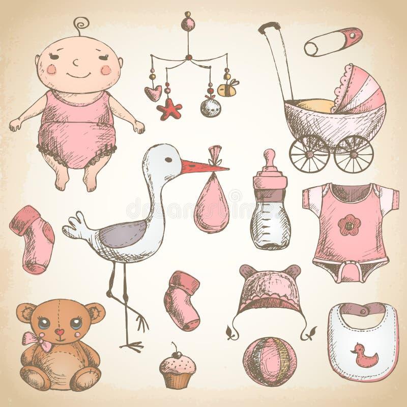 De douche van de baby uitstekende reeks stock illustratie