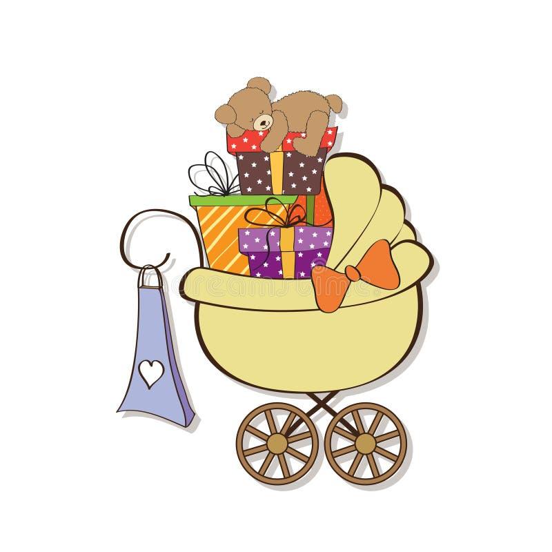 De douchekaart van de baby met giftdozen stock illustratie