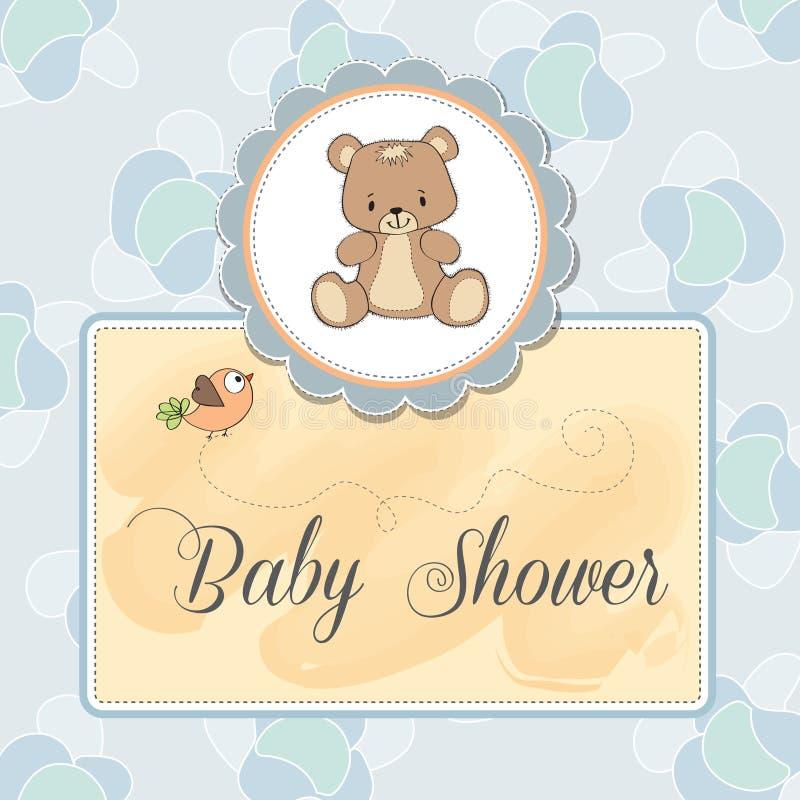 De douchekaart van de baby met teddy stock illustratie