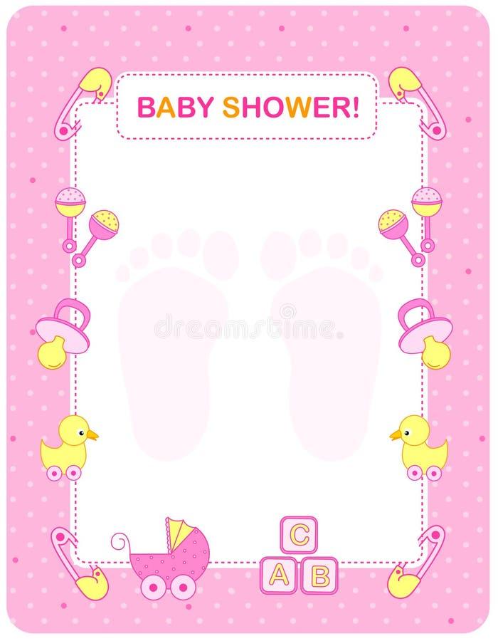 De douchekaart van de baby voor meisjes vector illustratie