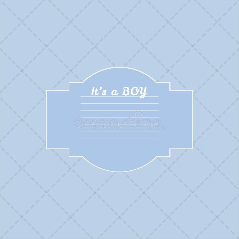 De douchekaart van de babyjongen Aankomstkaart met plaats voor uw tekst royalty-vrije illustratie