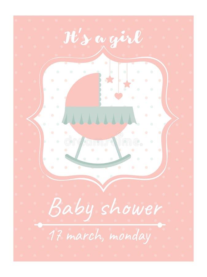 De douchekaart van de uitnodigingsbaby met wieg Kaart met plaats voor uw tekst vector illustratie