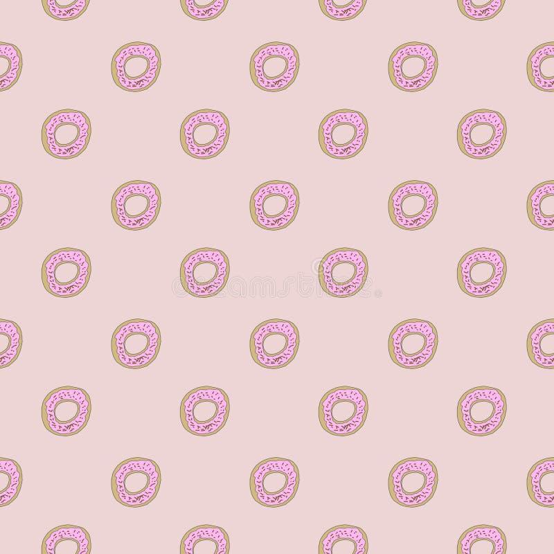De doughnut Seamles herhaalt Vrij de Voorraadbeeld van de Patroonroyalty vector illustratie