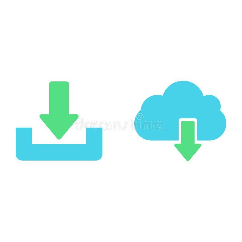 De download of bewaart tekenpictogram met wolk wordt geplaatst die vector illustratie