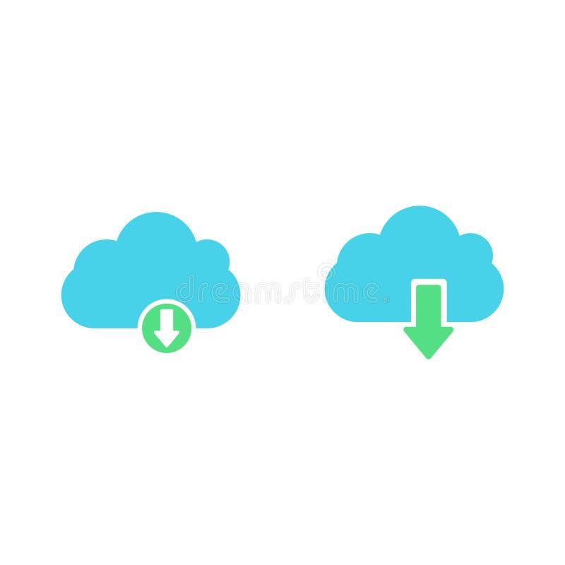 De download of bewaart tekenpictogram met wolk wordt geplaatst die Vlakke stijl royalty-vrije illustratie