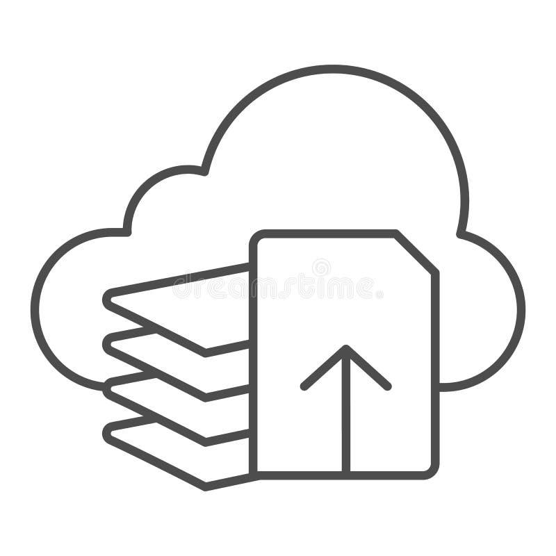 De download dient dun lijnpictogram in De vectordieillustratie van de documentdownload op wit wordt geïsoleerd Lijst en wolkenove royalty-vrije illustratie