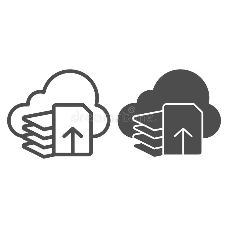 De download dient lijn en glyph pictogram in De vectordieillustratie van de documentdownload op wit wordt geïsoleerd Lijst en wol stock illustratie