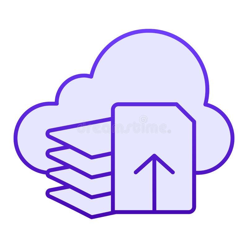 De download dient vlak pictogram in De blauwe pictogrammen van de documentdownload in in vlakke stijl Lijst en wolken het ontwerp royalty-vrije illustratie